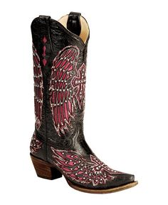 Corral Bedecked Fuchsia Wing Inlay & Cross Embroidery Cowgirl Boots - Snip Toe