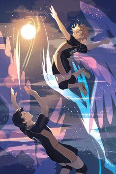 """Hinata & Kageyama (Haikyuu!!). Credit: <a href=""""http://lanthanoid.tumblr.com/"""" rel=""""nofollow"""" target=""""_blank"""">lanthanoid.tumblr...</a>"""