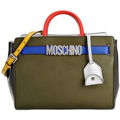 Moschino Handbag (£1,020) ❤ liked on Polyvore featuring bags, handbags, shoulder bags, military green, olive green handbag, shoulder handbags, moschino, brown purse and brown shoulder bag