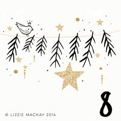 Lizzie Mackay: advent countdown illustrations (gold, black and pink)