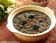 Ghormeh Sabzi - Persian Herb Stew - I grew up eating this stew, it tastes so good. There are many variations on the ingredients for all Persian/Middle Eastern food -- it depends what country you come from and what part of the country you are in. Iranian Dishes, Iranian Cuisine, Middle Eastern Dishes, Middle Eastern Recipes, Iran Food, Eastern Cuisine, Arabic Food, Mediterranean Recipes, International Recipes