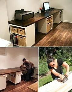DIY desk... Also great for crafts, puzzles, homework, etc. maybe in basement family room!