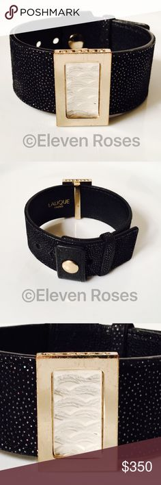 Lalique Frosted Glass Slide Black Leather Bracelet Lalique Paris Bracelet - Frosted Crystal Glass - Gold Tone Hardware - Adjustable Strap -  Includes All Original Packaging As Shown -  Preowned / Preloved  💕 May Show Slight Signs Of Having Been Worn.   📷  Listing Images Are Of Actual Item Being Offered.   Eleven Roses Boutique - Fine Designer & Fashion Jewelry Lalique Jewelry Bracelets