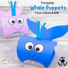 This Whale Puppet Craft is so fun and is easy to make with the printable whale craft template. This is a super Summer craft and to go with ocean study units and your favourite whale story books. The whale template comes in 9 fun colours and a B/W version that children can colour in too. #kidscraftroom #kidscrafts #whales #whalecrafts #summercrafts #oceancrafts #printablecrafts