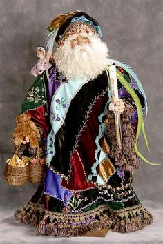 Crazy Quilted Victorian Santa ~By Santa's Legends Noel Christmas, Victorian Christmas, Father Christmas, All Things Christmas, Vintage Christmas, Christmas Crafts, Primitive Christmas, Country Christmas, Xmas