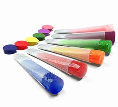 Clear Silicone Ice Pop and Popsicle Mold with Color Tops- Set of 6