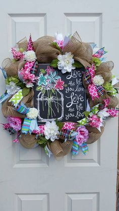 Check out this item in my Etsy shop https://www.etsy.com/listing/269748715/love-life-spring-summer-everyday-wreath