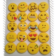 These adorable emoticon cookies would be perfect for a teen's party! Check out Holly Thomas's blog for more amazing cookie design ideas: thedoughmestichousewife.blogspot.com