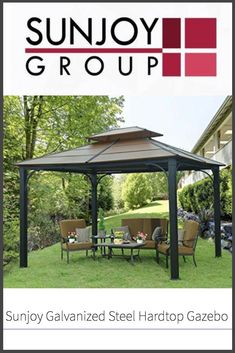 In this review, we take a look at the Sunjoy galvanized steel hardtop gazebo to see how it stacks up as a summer sun shelter backyard accessory.  #gazebolife #sunjoy #coolintheshade #funtimes Screened Gazebo, Grill Gazebo, Pergola, Steel Gazebo, Hardtop Gazebo, Mini Vacation, Galvanized Steel, Outdoor Living