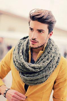 Honey Mustard with grey infinity scarf