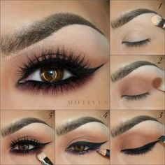 This five-step makeup tutorial will give you a boost of drama for your wedding day.   1. Apply brow bone highlight 2. Eye shadow and countour 3. Wingtip Eyeliner (and waterline) 4. Neutral berry pencil 5. Under eye shadow, blend