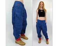Vintage 80s 90s Baggy Pleated Loose Denim Oversized Boyfriend Tapered Leg Blue Jeans Bugle Boy Slouch Hip Hop by BlueFridayVintage