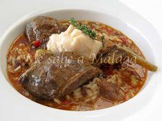Me sabe a Málaga: Arroz meloso con carrilleras de cerdo ibérico Spanish Kitchen, Pot Roast, Great Recipes, Tapas, Pork, Beef, Ethnic Recipes, Primers, Murcia