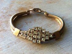 vintage rhinestone bracelet goldtone snake box chain by lovegrade, $18.00
