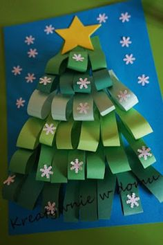 Easy Christmas Tree Crafts Ideas for toddlers and preschoolers folded Paper Christmas Tree Christmas Arts And Crafts, Christmas Activities, Christmas Projects, Kids Christmas, Holiday Crafts, Christmas Cards, Christmas Decorations, Christmas Ornaments, Ornaments Ideas