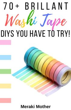 Get 70+ genius ideas for using washi tape to personalize and DIY your entire home! #washitape #washitapediy #washitapeideas #homediys #homedecor Diy Washi Tape Crafts, Washi Tape Storage, Washi Tape Wall, Washi Tape Cards, Duck Tape Crafts, Wall Writing, Diy Craft Projects, Fun Crafts, Craft Ideas