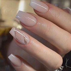 Classy Nails, Stylish Nails, Cute Nails, Pretty Nails, Vintage Wedding Nails, Wedding Nails Design, Nail Wedding, Vintage Nails, Glitter Wedding