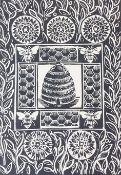 The Bee Hive Original Linocut Print, Slate Grey £25.00