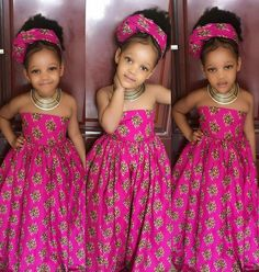 African dress for girls with headwrapgirls by Zedstylezfabrics. Ankara Styles For Kids, African Dresses For Kids, African Children, African Print Dresses, African Print Fashion, African Wear, African Attire, African Fashion Dresses, Little Girl Dresses
