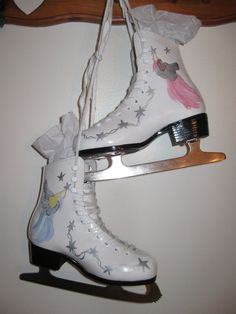Ice Skates upcycled and handpainted by HandmadesbyJ on Etsy, $42.00