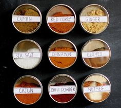Magnetic Spice Storage.   Just when I didn't think I could love http://abeautifulmess.typepad.com anymore...