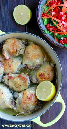 Lemon Rosemary Chicken Thighs -  savorylotus.com #chicken #recipes #paleo