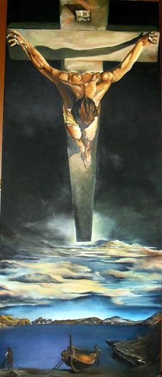 Salvador Dali ( Le -Christ-De-Saint-Jean-De-La-Croix) for st. oil on canvas 72 inches by 36 inches Salvador Dali is my favorite of all times. I attempt to make one of his beautiful painting for myself. Salvador Dali Paintings, Sacred Art, Christian Art, Pablo Picasso, Religious Art, Surreal Art, Famous Artists, Art History, Modern Art