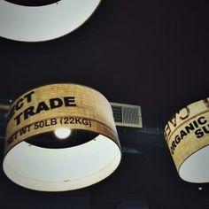 burlap coffee sacks make great lamp shades