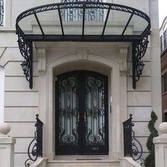 - Porte d'entrée by Ville Doors Pergola, Gazebo, Wooden Front Door Design, Diy Awning, Make A Door, Porch Area, Door Canopy, Art Nouveau Architecture, Modern Staircase