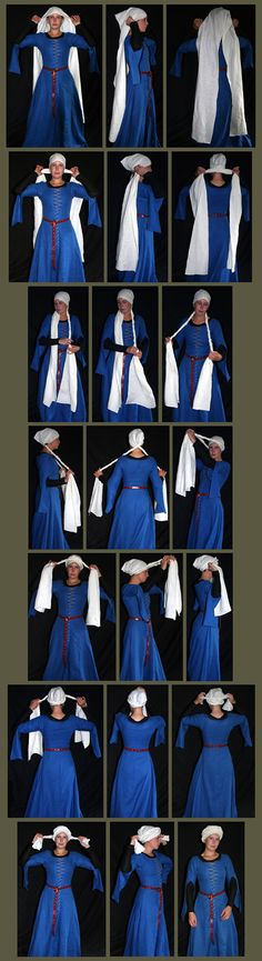 "15th Century Women's Turban - 16"" x 86"" 1. Place center seam of turban over middle of forehead, crossing long ends at the nape of the neck.  2. Twist each tail tightly into a coiled rope.  3. When long enough, cross at the front of your head. 4. Continue twisting, wrapping & crossing. 5. Tuck ends & pin if needed."