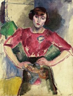 jules pascin hermine in a red blouse paintings