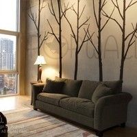 Vinyl Wall  Decal Sticker Art - Winter Trees -  set of 6 trees with 10 FLYING BIRDS - 036