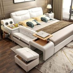 Leather bed tatami bed Simple modern leather bed double bed m multi-purpose bed smart bed wedding bed master bedroom Smart Furniture, Bedroom Furniture, Bedroom Decor, Furniture Ideas, Furniture Layout, Furniture Stores, Bedroom Ideas, Laminate Furniture, Furniture Shopping