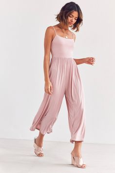 Silence + Noise Belinda Ribbed Knit Wide-Leg Jumpsuit | Urban Outfitters