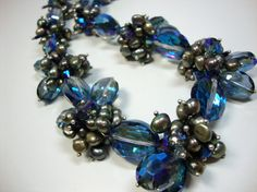 Bold Blue Crystals with Green Freshwater Pearls by MommaGoddess, $32.00