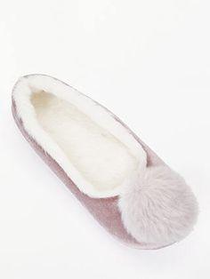 017858f19fd BuyJohn Lewis   Partners Ballerina Pom Slippers