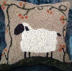 Bittersweet Sheep Rug Hooked Pillow