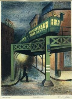 Uptown by Leonard Pytlak (1910-1998), lithograph on paper, 1935.
