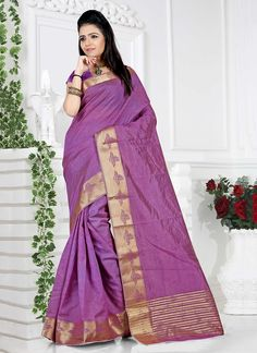 Eye-Catchy Cotton   Purple Patch Border Work Casual Saree