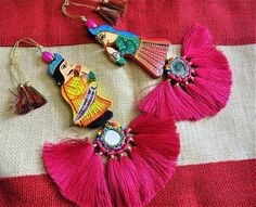 1 pc Hand- carved Wooden Rani, Indian Queen with Silk Tassels, Wooden Applique, Hand Painted Wooden Queen Tassel, Indian Tassel - Pink Hand Embroidery, Embroidery Designs, Rakhi Design, Saree Tassels, Hand Carved, Hand Painted, Fabric Jewelry, Textiles, Blouse Designs