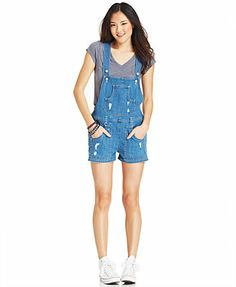 Levi's® Juniors' Destroyed Shorts Overalls