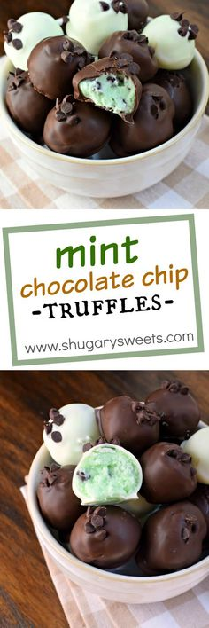 Best desserts and sweet treats -- Delicious, creamy Mint Chocolate Chip Truffles recipe! So easy to make too! Menta Chocolate, Mint Chocolate Chips, Chocolate Truffles, Cake Chocolate, Decadent Chocolate, Chocolate Smoothies, Chocolate Recipes, Chocolate Shakeology, Chocolate Crinkles