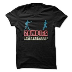 Awesome Running Lovers Tee Shirts Gift for you or your family member and your friend:  Zombies Hate Fast Food Great Funny Running Shirt Tee Shirts T-Shirts
