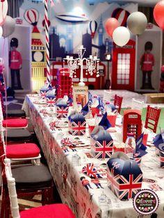 London/England birthday party ideas in 2019 boy birthday par London Theme Parties, British Themed Parties, British Party, London Party, Paddington Bear Party, England Party, Party Props, Party Ideas, London Decor