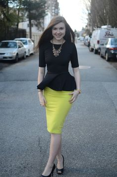 Black and yellow pencil skirt with a peplum top. I don't like the color of skirt but love this look for work. Would love a black peplum! Fashion Mode, Work Fashion, Modest Fashion, Womens Fashion, Ladies Fashion, Fashion Beauty, Skirt Outfits, Dress Skirt, Cute Outfits