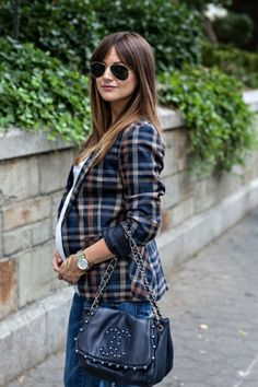 blazer Facon, All About Fashion, Fashion Outfits, Womens Fashion, Autumn Fashion, Fashion Accessories, Plaid, Clothes For Women, Bump