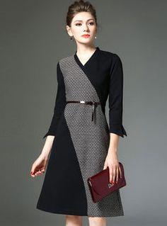 da3630bbb Vintage Color-matched Cropped Sleeve Skater Dress Skater Dresses