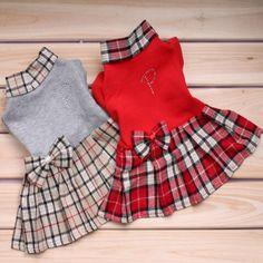 Dog Pet Puppy Girl Dress Jumpsuit Skirt Coat Plaid&Crown 100% Cotton