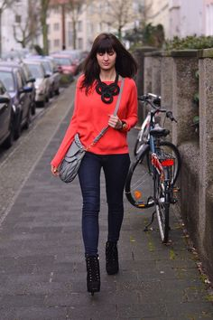 Colorful sweater and funky accessories makes this casual outfit rock!