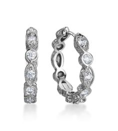 Penny Preville - Deco Collection 18K White Gold Diamond Hoops Earrings